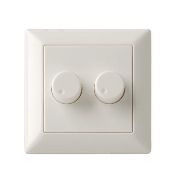 Duo inlegplaatje + 2 knoppen wit, geschikt voor Berker, met inbouwraam