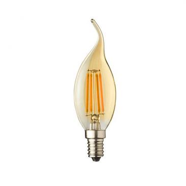 E14 LED kaars lamp vlam. Lybardo 4-stap Dimbaar Filament 4 Watt 2500K TÜV