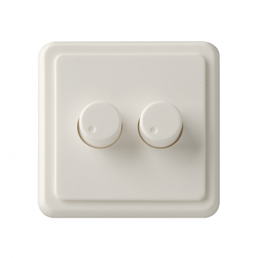 Duo inlegplaatje + 2 knoppen wit, geschikt voor Peha, met inbouwraam
