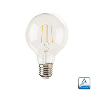 E27 LED Lamp Lybardo Filament Globe diameter 80mm, 4 Watt 2100K Dimbaar, TUV Keurmerk
