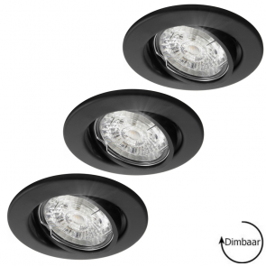 LED GU10 8 Watt dimbaar + inbouwspots Lucca zwart ø82mm in set van 3