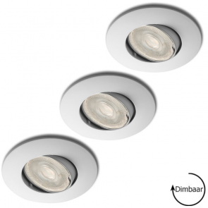 LED GU10 8 Watt dimbaar + inbouwspots Lucca wit ø82mm in set van 3