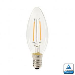 E14 LED Filament Kaarslamp Velino, 1.3 Watt 2700K TUV Keurmerk
