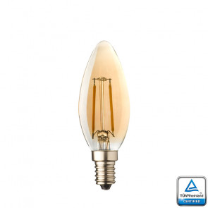 E14 LED Filament kaarslamp Lybardo Rustique 0,6 Watt 2500K TUV Gecertificeerd.