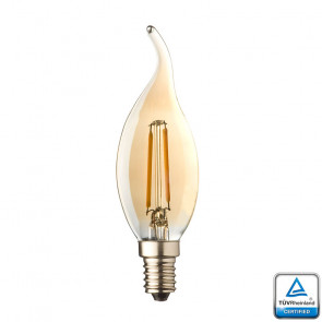 E14 LED Filament kaarslamp vlam Lybardo Rustique 0,6 Watt 2500K TUV Gecertificeerd