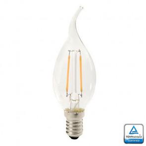 E14 LED Filament Kaarslamp Vlam Velino, 1.3 Watt 2700K TUV Keurmerk