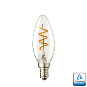 E14 LED kaars lamp spiraal Lybardo 1.3 Watt 2100K TÜV