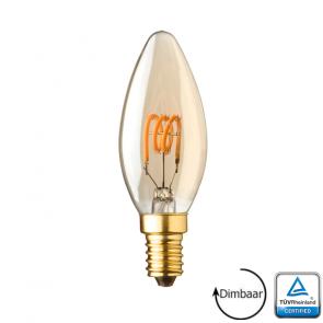 E14 LED kaars lamp spiraal Lybardo Gold 2.8 Watt 2000K Dimbaar TÜV