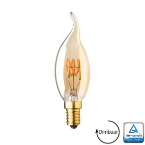E14 LED kaars lamp vlam spiraal Lybardo Gold 2.8 Watt 2000K TÜV