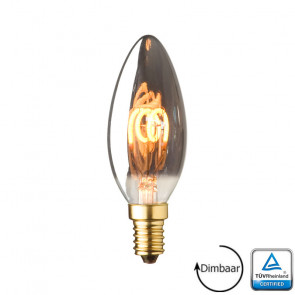 E14 LED kaars lamp spiraal Lybardo Smoke 2.8 Watt 2100K Dimbaar TÜV