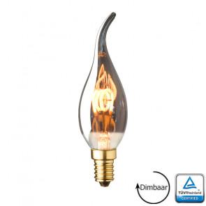 E14 LED kaars lamp Vlam spiraal Lybardo Smoke 2.8 Watt 2100K Dimbaar TÜV