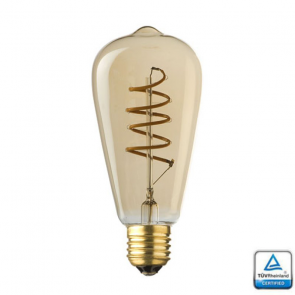 E27 LED Filament Spiraal Edison Lybardo 4 Watt Rustique finish 2500K TÜV