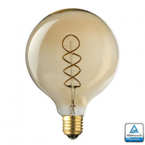 E27 LED Filament Spiraal Globe 125 Lybardo 4 Watt Rustique finish 2500K TÜV