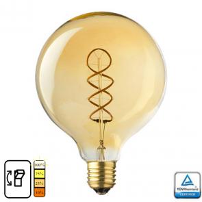 E27 LED Lamp Globe 125 spiraal, Lybardo 4-stap Dimbaar Filament, 4 Watt 2500K TUV