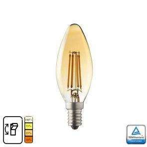 E14 LED kaars lamp. Lybardo 4-stap Dimbaar Filament 4 Watt 2500K TÜV
