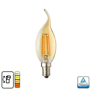 E14 LED kaars lamp vlam. Lybardo 4-stap Dimbaar Filament 4 Watt 2600K TÜV