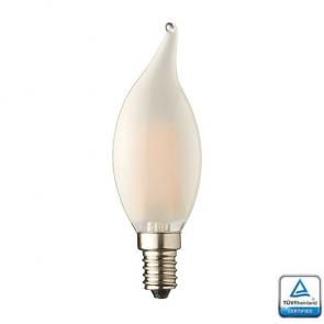 E14 LED Kaars lamp vlam Filament Lybardo Frost Dimbaar 4 Watt 2100K TÜV