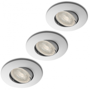 LED GU10 3.3 Watt ITEC + inbouwspots Lucca wit ø82mm in set van 3