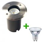 LED Grondspot Rhodos RVS Rond IP67 + Philips CorePro LED GU10 4.6W 2700K Warm Wit