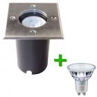LED Grondspot Athene RVS Vierkant IP67 + Philips CorePro LED GU10 4.6W 2700K Warm Wit