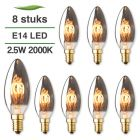 8 Pack E14 LED kaars lamp spiraal Lybardo Smoke 2.5W 2000K Extra Warm 40 lm