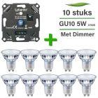 10 Pack Philips CorePro LED GU10 Dimbaar 5W 2700K + Lybardo ITEC 3-200W LED Dimmer Fase Afsnijding