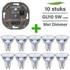 10 Pack Philips CorePro LED GU10 Dimbaar 5W 3000K + Lybardo ITEC 3-175W LED Dimmer Fase Afsnijding