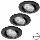LED GU10 7W dimbaar + inbouwspots Lucca zwart ø72mm in set van 3