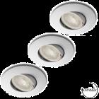 LED GU10 7W dimbaar + inbouwspots Lucca wit 72mm in set van 3