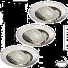 LED GU10 7W dimbaar + inbouwspots Lucca nikkel ø72mm in set van 3