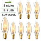 8 Pack E14 LED kaars lamp spiraal Lybardo Gold 1.2W 2000K Extra Warm 50 lm