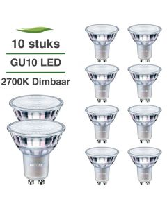 10 Pack Philips CorePro LED GU10 5W 2700K Warm Wit Dimbaar