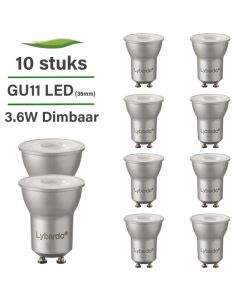 10 Pack LED GU10 - GU11 35 mm Lybardo 3.6W 2700K Warm Wit Dimbaar