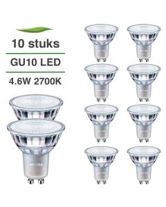 10 Pack Philips CorePro LED GU10 4.6W 2700K Warm Wit