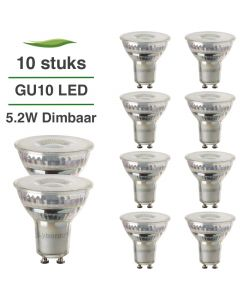 10 Pack LED GU10 Lybardo 5.5W 60 graden 3000K Warm Wit Dimbaar