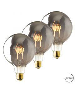 3 Pack  E27 LED lamp Vintage Globe 125 spiraal Lybardo Smoke 3.6W 2100K Extra Warm Dimbaar