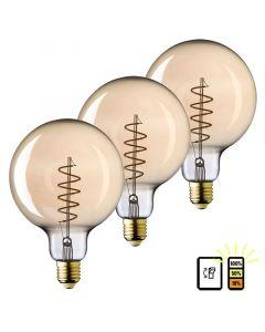 3 Pack E27 LED Lamp Globe 125 spiraal Lybardo 3-stap Dimbaar Filament 4W 2500K Warm Wit