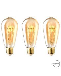 3 Pack E27 LED lamp Vintage Edison spiraal Lybardo Gold 4W 2000K Extra Warm Dimbaar