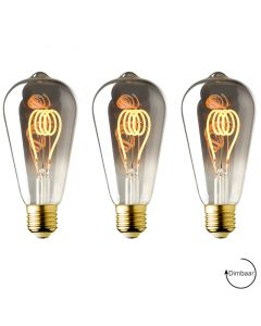 3 Pack E27 LED lamp Vintage Edison spiraal Lybardo Smoke 3.6W 2100K Extra Warm Dimbaar