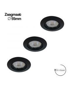 LED GU10 - GU11 (35mm) 3.6W + inbouwspots Lucca zwart 55mm in set van 3 dimbaar