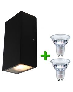 Buitenverlichting / tuinverlichting - buitenlamp / wandlamp Maxime Zwart - 2x Philips GU10 LED lamp 3.5W - 2700K Warm Wit