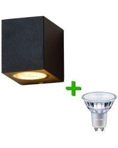 Buitenverlichting / tuinverlichting - buitenlamp / wandlamp Nice Zwart - 1x Philips GU10 LED lamp 3.5W - 2700K Warm Wit