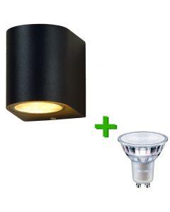 Buitenverlichting / tuinverlichting - buitenlamp / wandlamp Valence Zwart - 1x Philips GU10 LED lamp 3.5W - 2700K Warm Wit