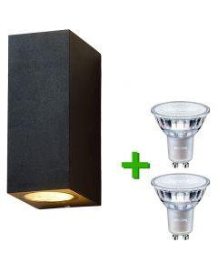 Buitenverlichting / tuinverlichting - buitenlamp / wandlamp Cannes Zwart - 2x Philips GU10 LED lampen 3.5W - 2700K Warm Wit