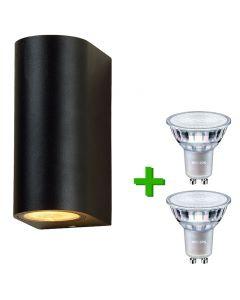 Buitenverlichting / tuinverlichting - buitenlamp / wandlamp St. Tropez Zwart - 2x Philips GU10 LED lampen 3.5W - 2700K Warm Wit