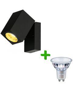 Buitenverlichting / tuinverlichting - buitenlamp / wandlamp Frejus Zwart - 1x Philips GU10 LED lamp 3.5W - 2700K Warm Wit