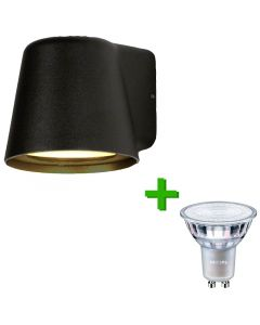 Buitenverlichting / tuinverlichting - buitenlamp / wandlamp Monaco Zwart - 1x Philips GU10 LED lamp 3.5W - 2700K Warm Wit