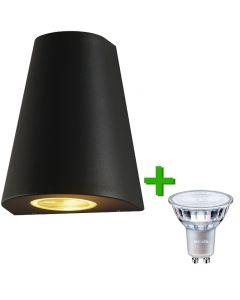Buitenverlichting / tuinverlichting - buitenlamp / wandlamp Toulouse Zwart - 1x Philips GU10 LED lamp 3.5W - 2700K Warm Wit