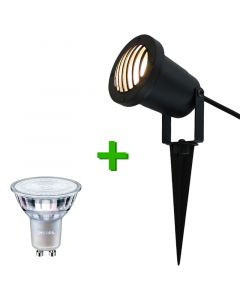 Buitenverlichting / tuinverlichting - grondspot / tuinspot Toulon Zwart - 1x Philips GU10 LED lamp 4.6W - 2700K Warm Wit
