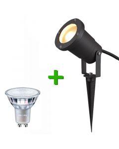 Buitenverlichting / tuinverlichting - grondspot / tuinspot Marseille Zwart - 1x Philips GU10 LED lamp 4.6W - 2700K Warm Wit